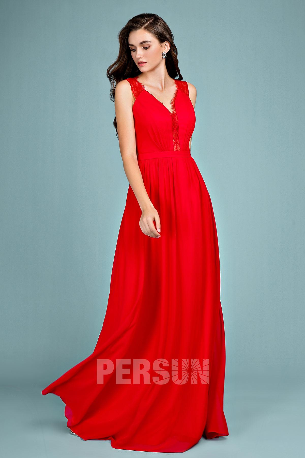 robe de soirée rouge ligne A col en V 2019