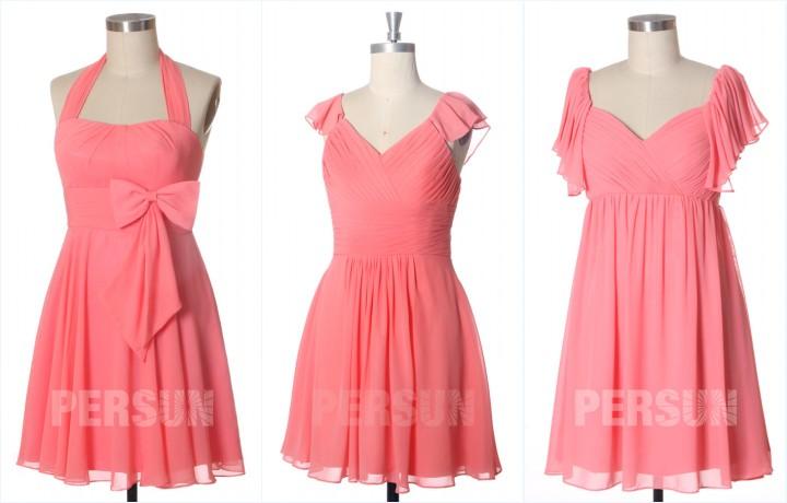 robes corail courtes pour demoiselles d'honneur