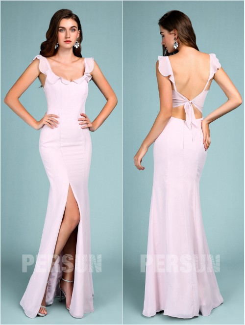 robe de soirée lilas clair trompette avec fente