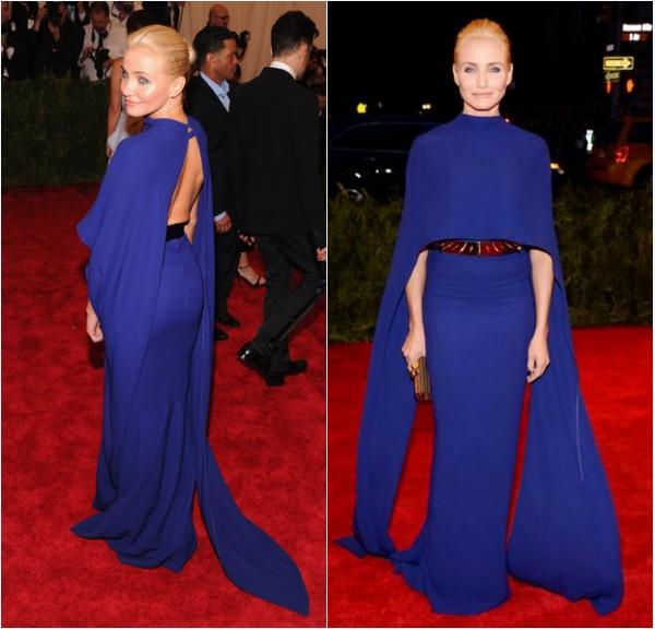 Cameron Diaz en robe de soirée bleu avec cape au Met Gala de 2013