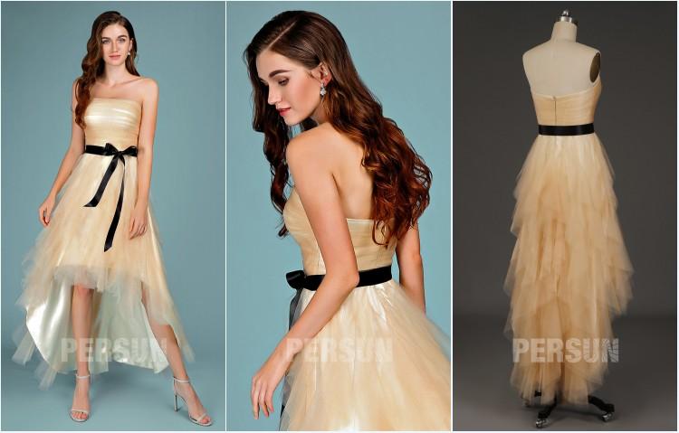 robe de bal champagne courte devant longue derrière bustier droit