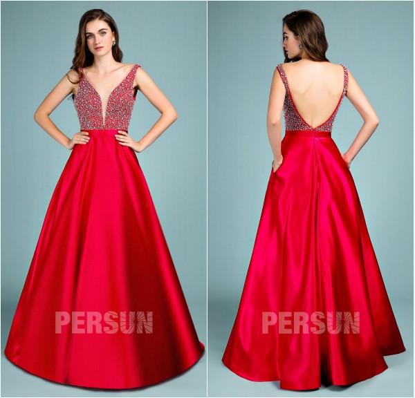robe de bal rouge princesse haut embelli de strass 2019