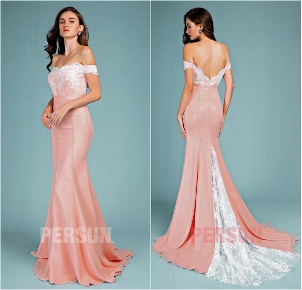 robe de bal vieux rose sirène épaule dénudé appliqué de dentelle