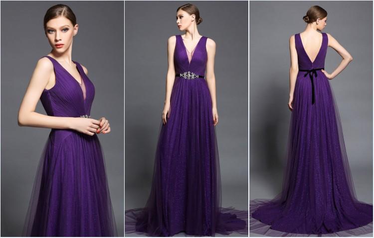 robe de bal longue violette col V ceinturé