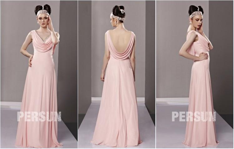 robe de soirée rose empire col bénitier