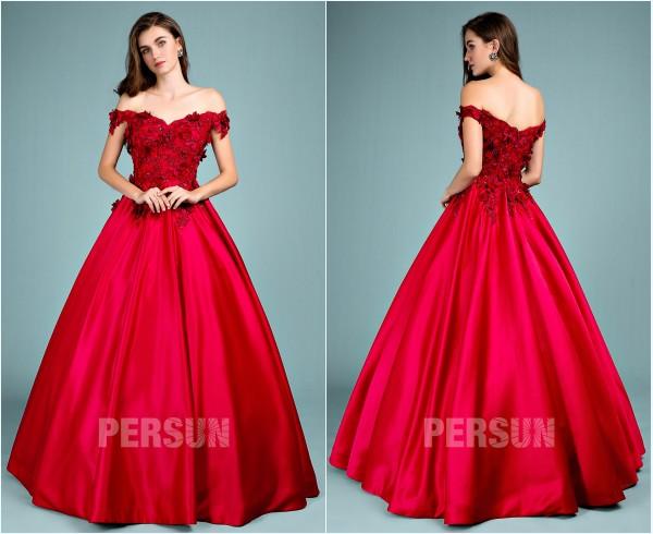 robe de quinceanera rouge princesse épaule dénudé orné de fleurs