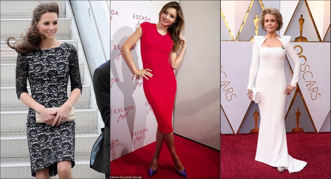 la robe fourreau est populaire parmi les célébrités