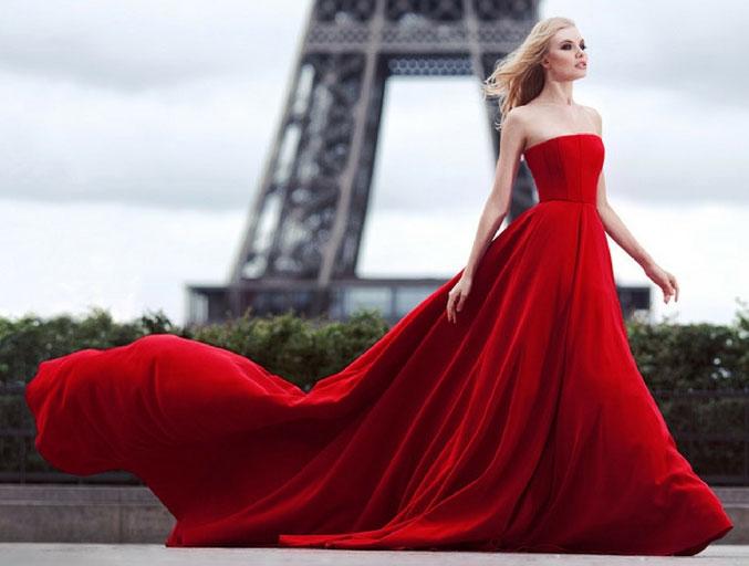 robe de soirée rouge bustier droit longue
