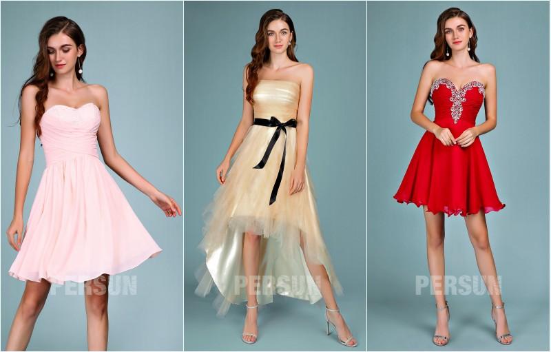 robes de soirée courte bustier coeur 2019