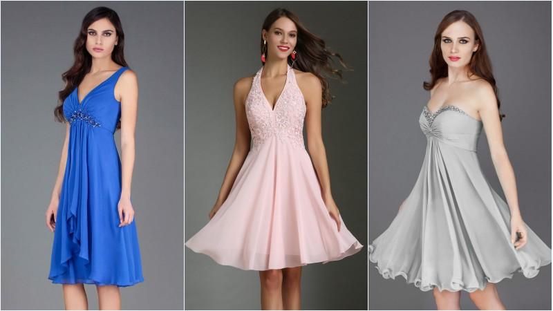 robes de soirée courtes en mousseline style empire