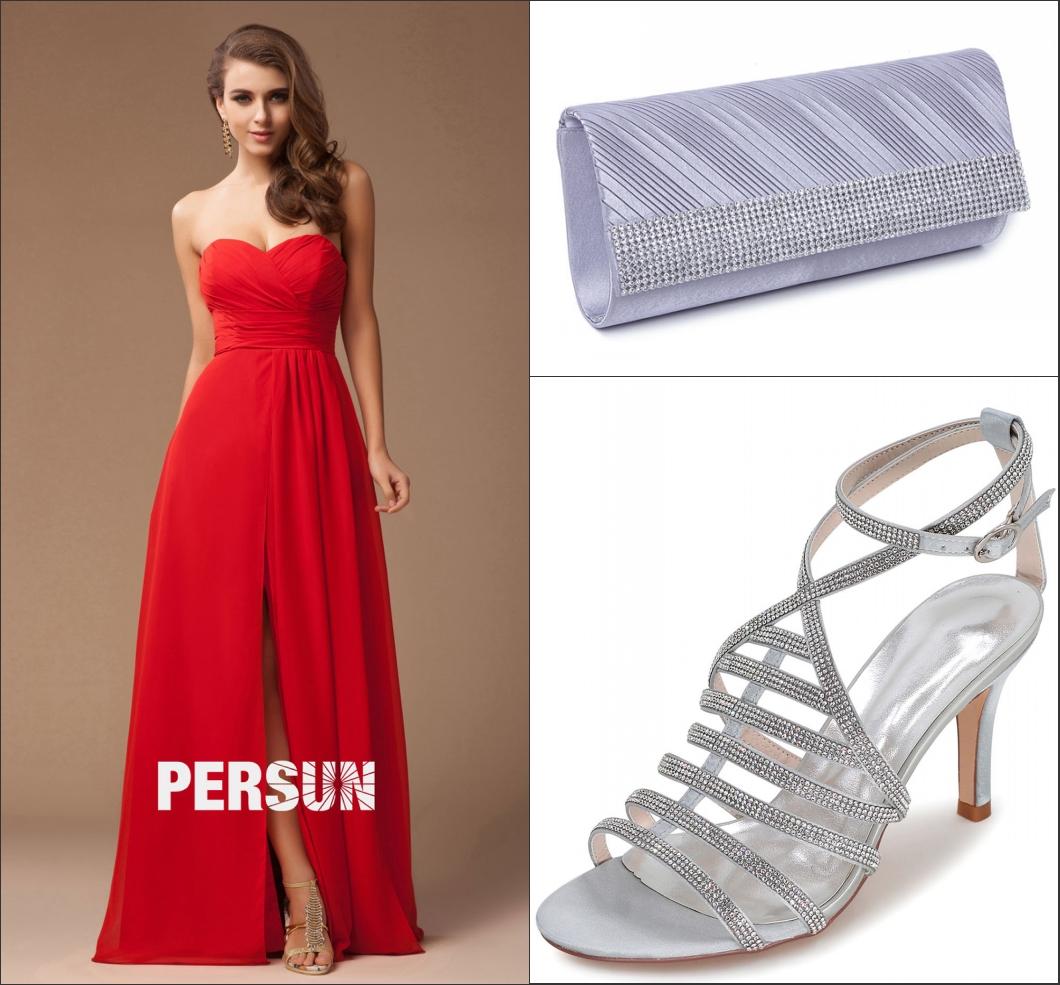 robe de cocktail rouge longue bustier coeur drapé avec une fente et des accessoires argenté