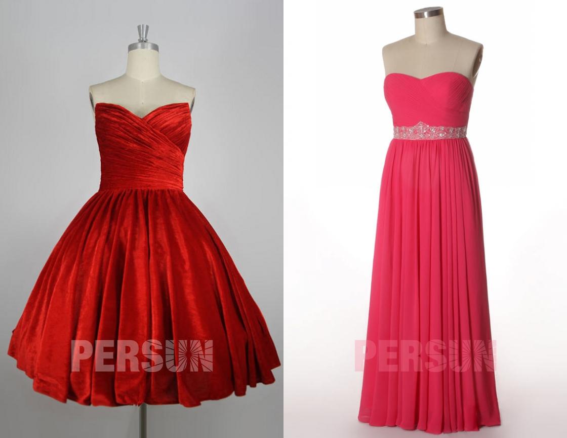 2 styles de robes de soirée bustier et jupe plissé