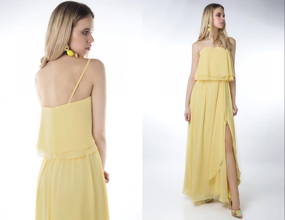 robe de cocktail longue fendue jaune simple bustier volant avec bretelles fines