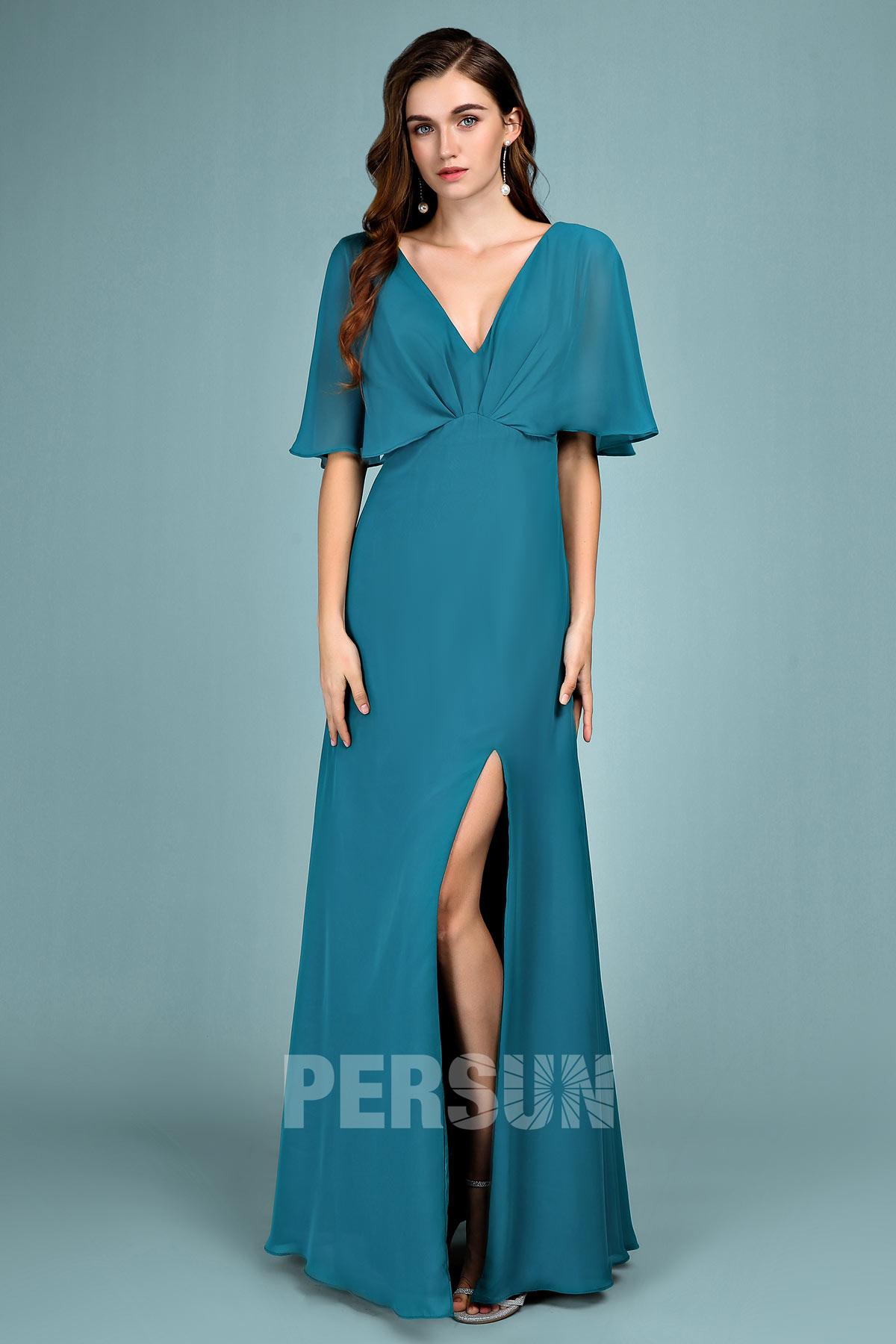 robe de soirée longue verte fente latérale col v avec manches mi-longue volantes
