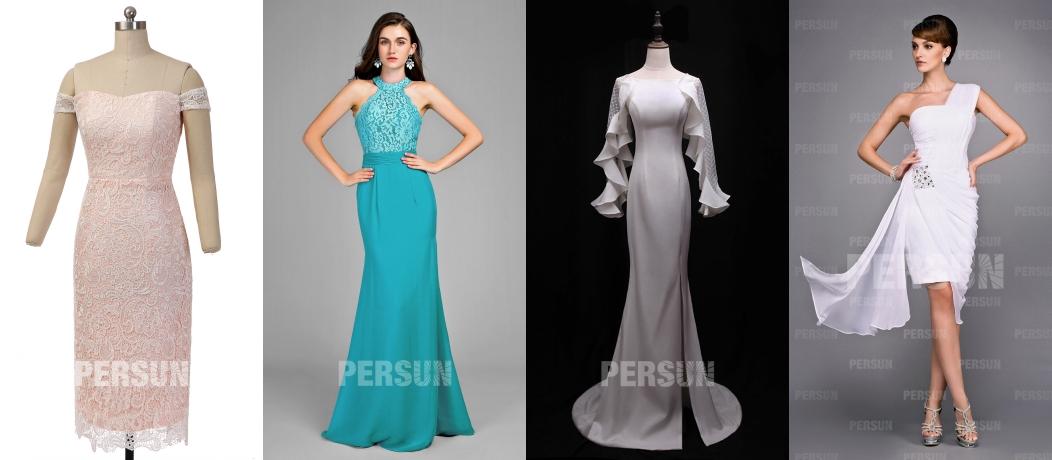 4 styles différentes de robes de soirée fourreau