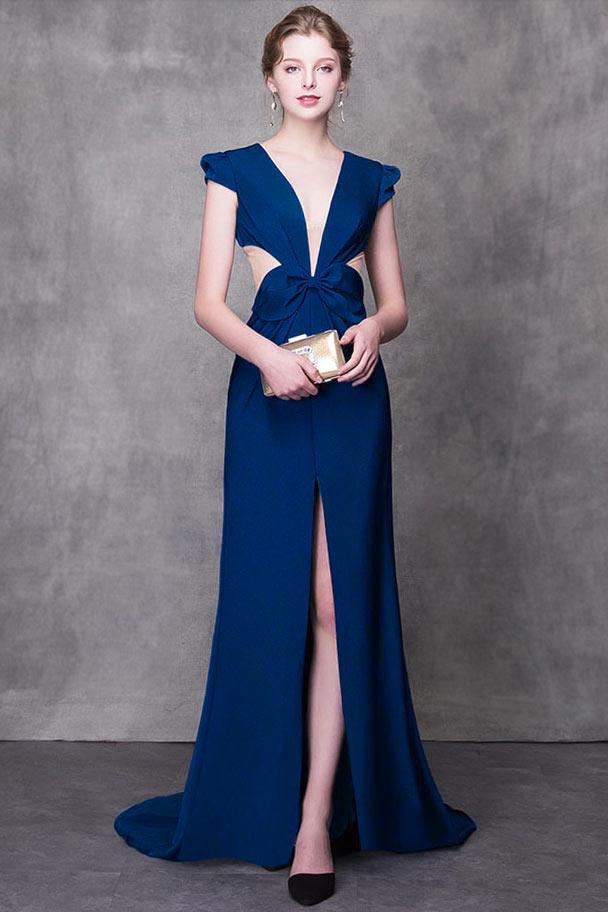robe de soirée sexy fendue bleu col v plongeant taille de noeud papillon