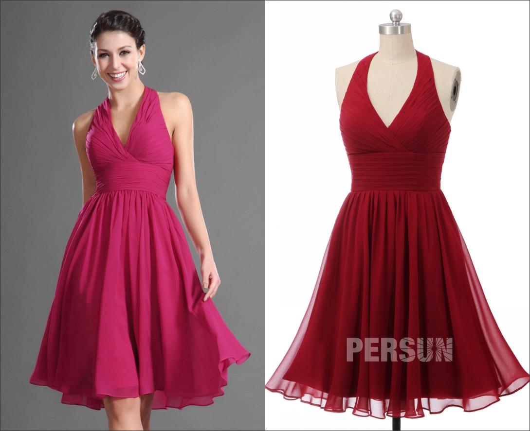 robe de cocktail courte estivale rouge col halter bustier plissé