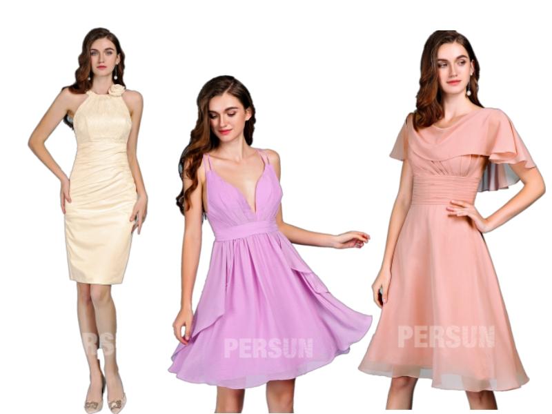 robe de cocktail courte en différent coupe de persun 2019