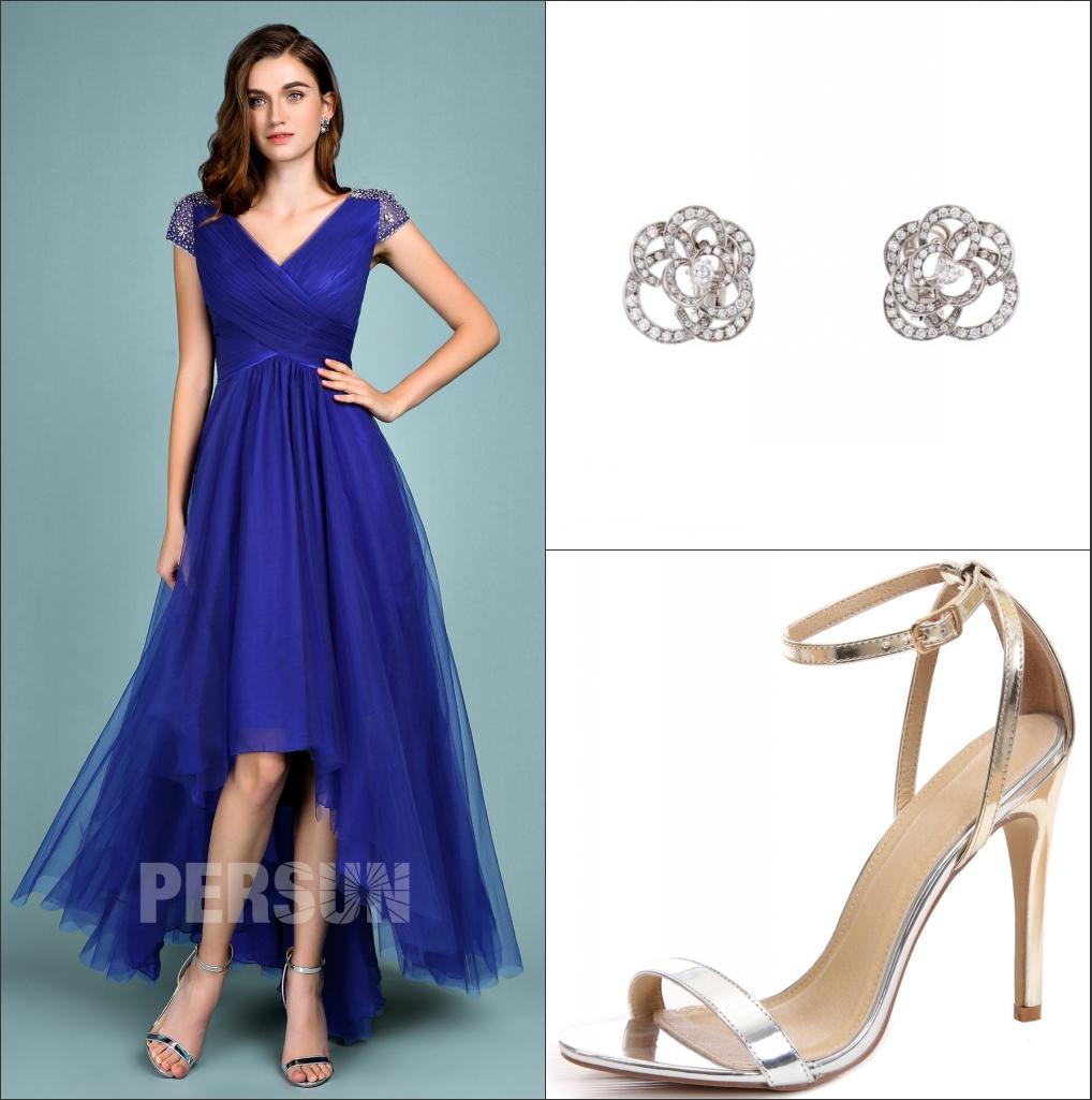 robe de cocktail bleu courte devant longue derrière col v bustier plissé Mancheron embelli de strass