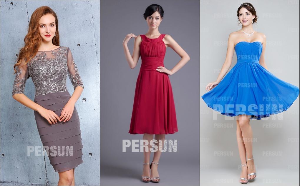 joyeux couleurs robe de cocktail courte en création originale encolure différente