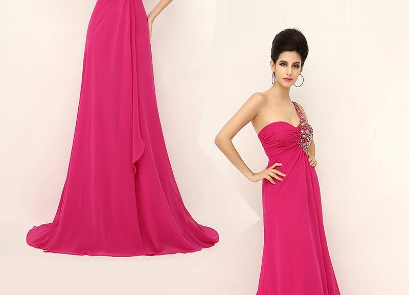 robe de soirée longue fuchsia asymétrique bustier ornée de strass exquis