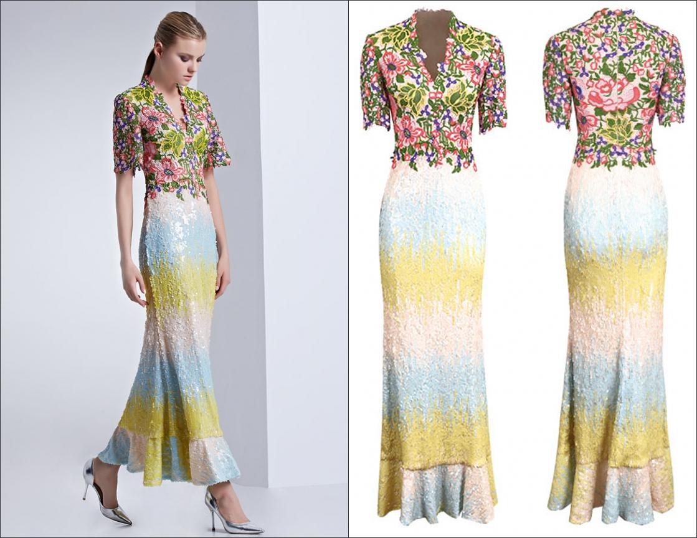 robe de cocktail mi-longue colorée sirène haut en dentelle appliqué à manches courtes