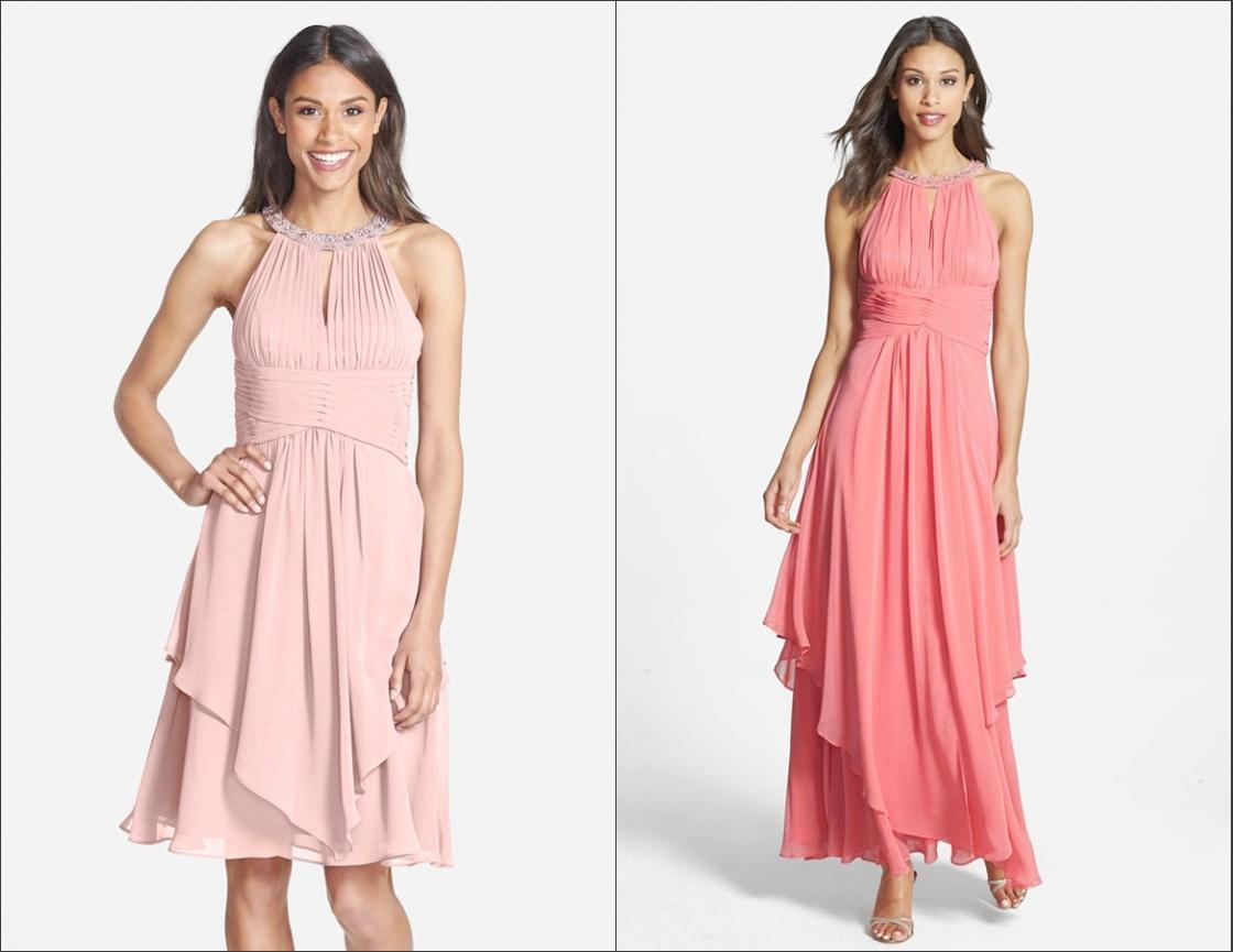 robe de soirée bustier plissé col américain embelli de strass et jupe asymétrique