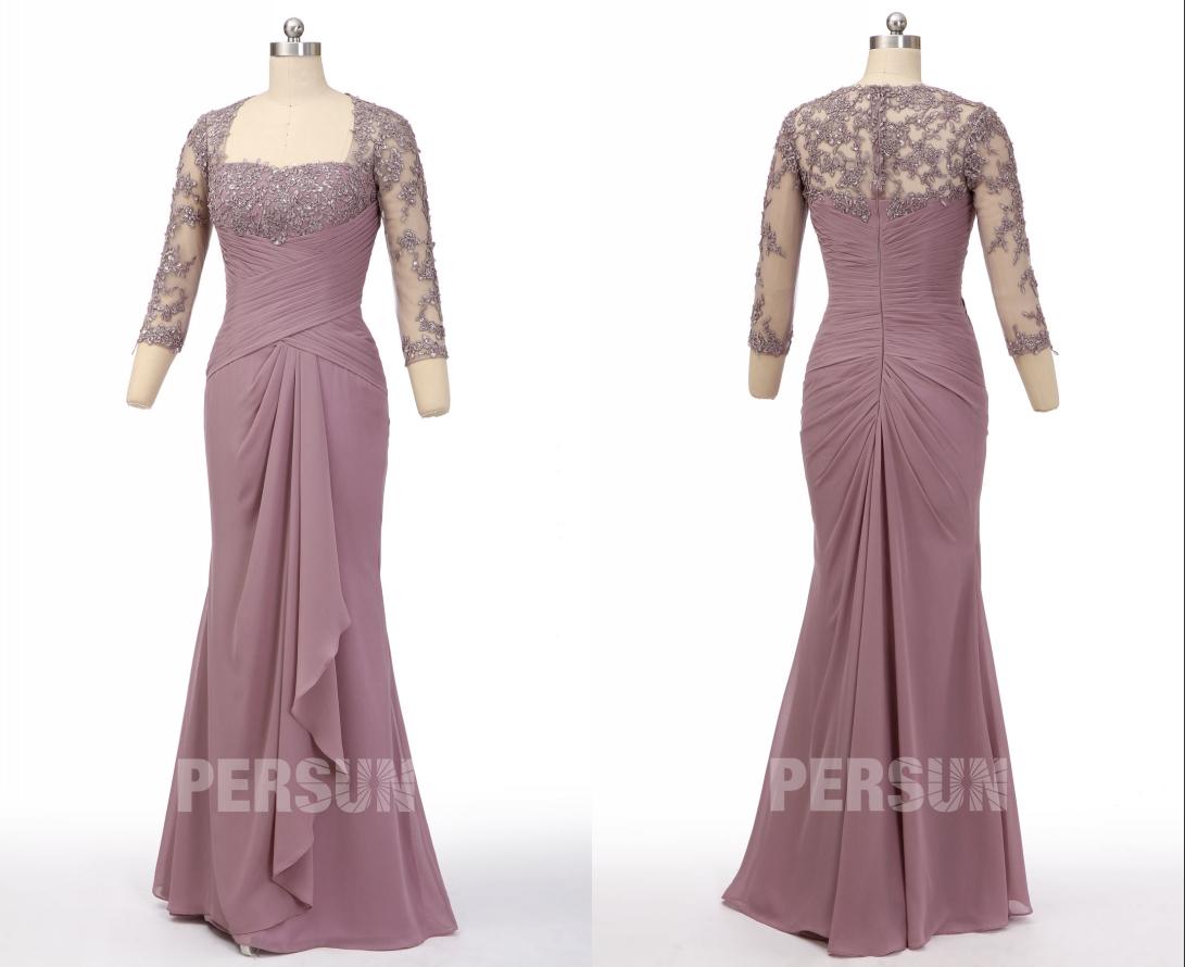 robe de soirée parme longue sirène en dentelle appliquée dos et manches longue transparente