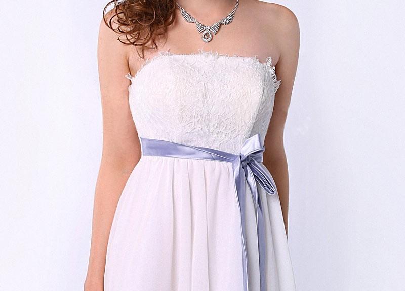 robe de cocktail courte bustier droit en dentelle avec ceinture