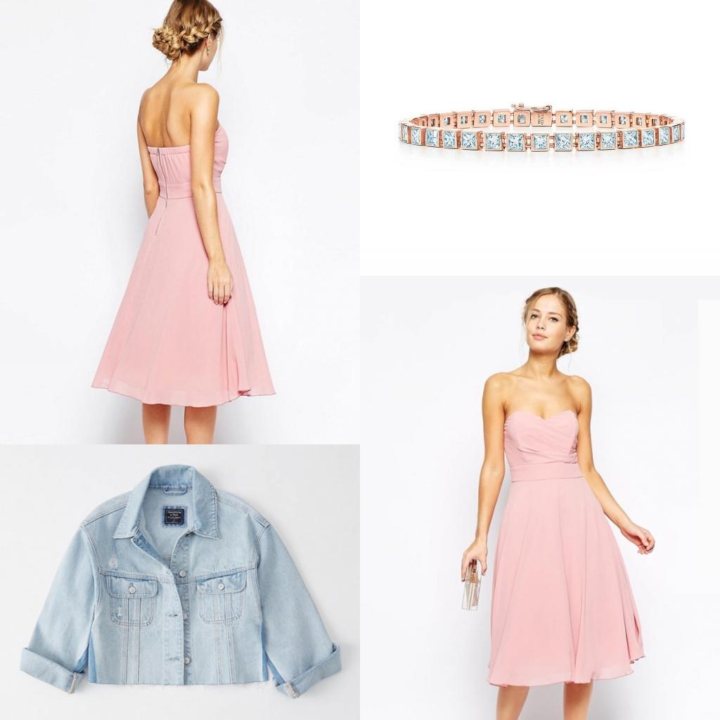 robe de cocktail rose courte bustier coeur avec accessoire