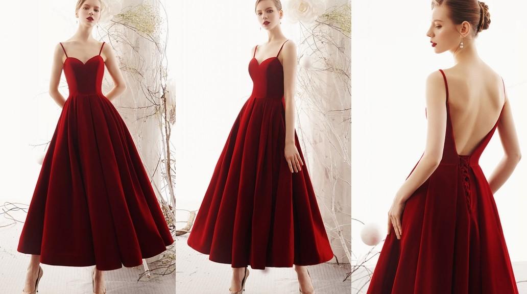 robe de soirée élégante rouge longue bustier coeur jupe ample avec bretelles spaghetti