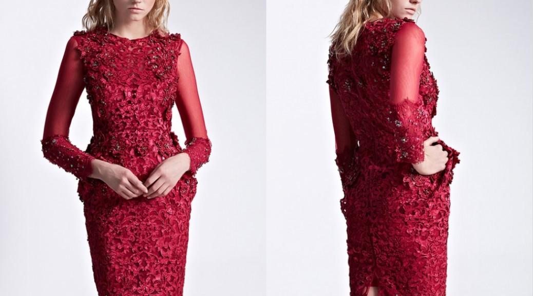 robe de soirée courte en dentelle appliquée florale à manche longue transparent