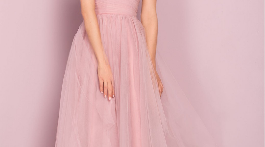 robe de cocktail rose mi-longue col v drapé