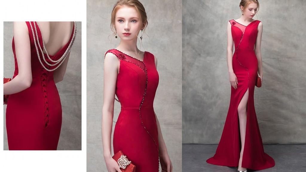 robe soirée longue rouge sirène fendue col illusion