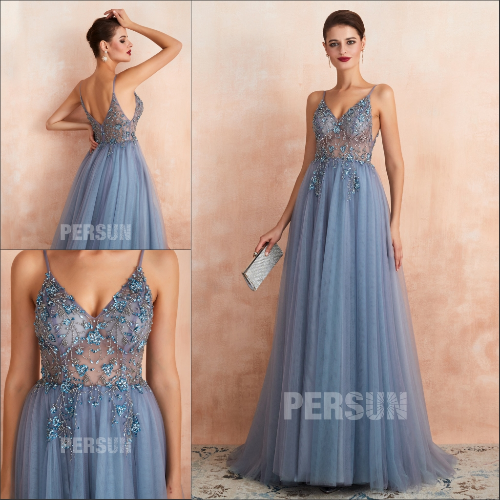 robe de soirée sexy bleu longue fendue embelli de bijoux transparente dos nu