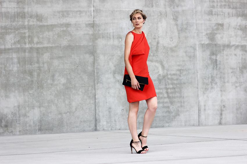 robe rouge orange courte