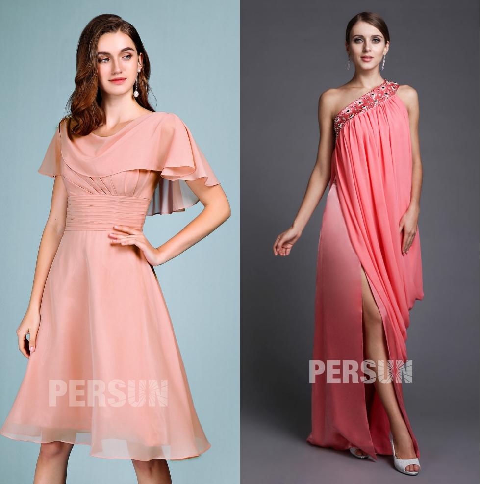robe de soirée rose simple pour 40e anniversaire