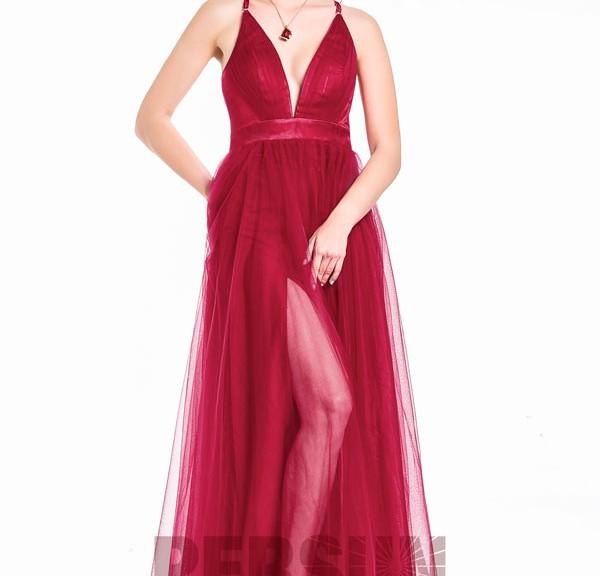 robe de soirée longue bordeaux bustier coeur fendue col en v