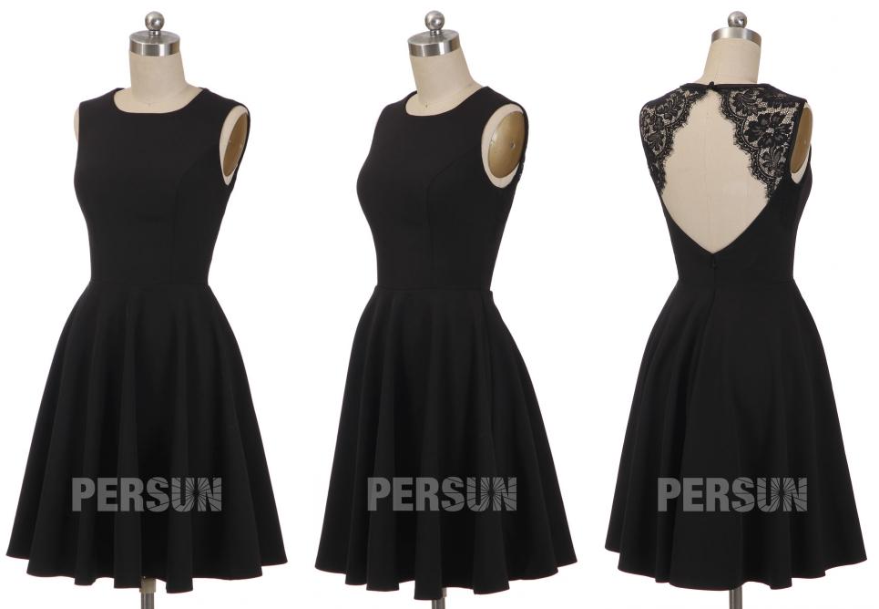 petite robe noire simple classique dos nu en dentelle