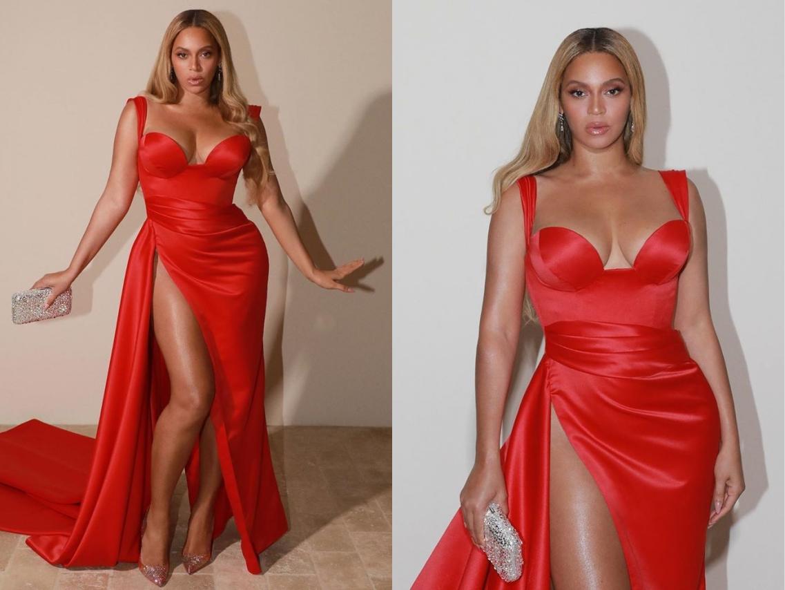 sexy robe rouge fendue beyoncé pré-grammy 2020