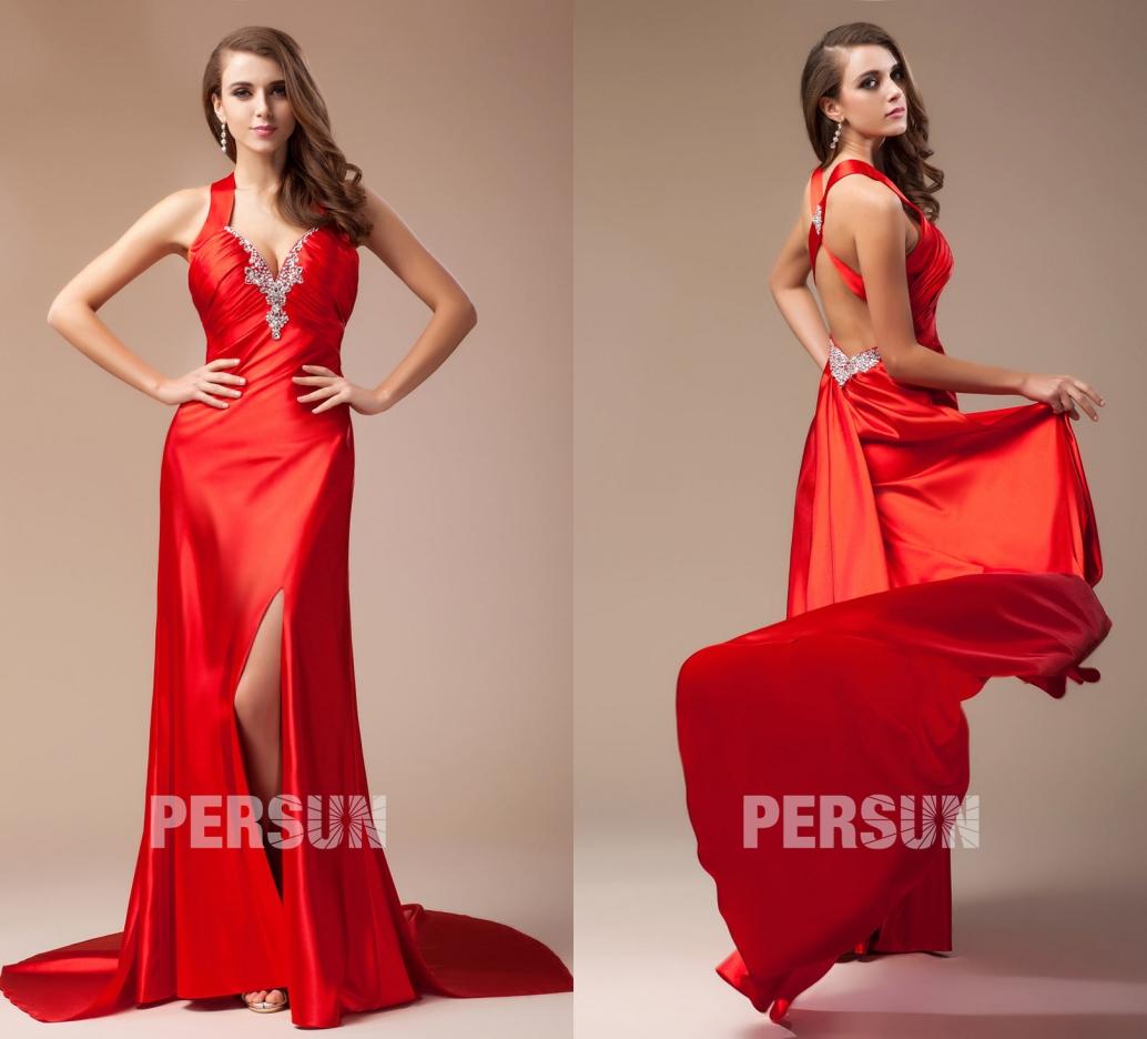 robe de soirée rouge dos nu longue fendue encolure v embelli de strass