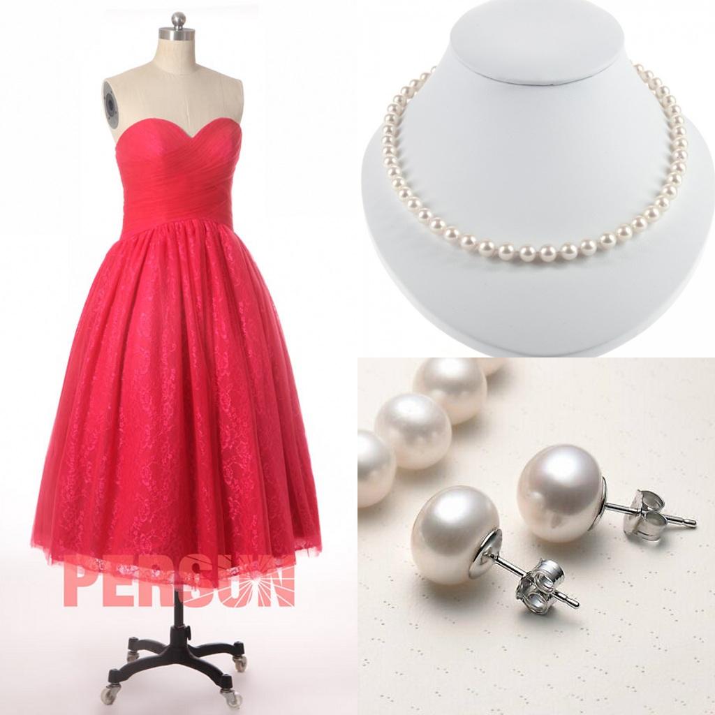 robe de cocktail mi-longue rouge princesse bustier coeur en dentelle