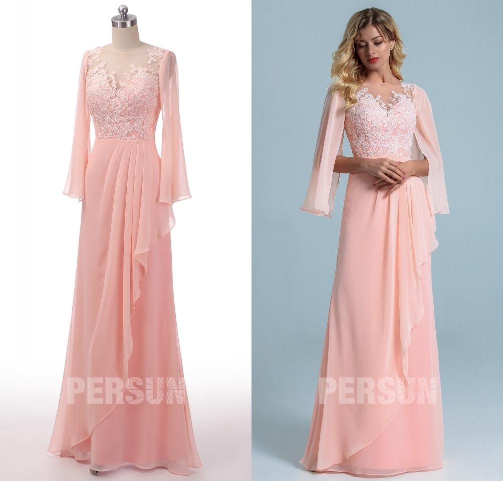 robe de soirée longue rose perle col illusion en dentelle appliquée florale avec manche cape longue