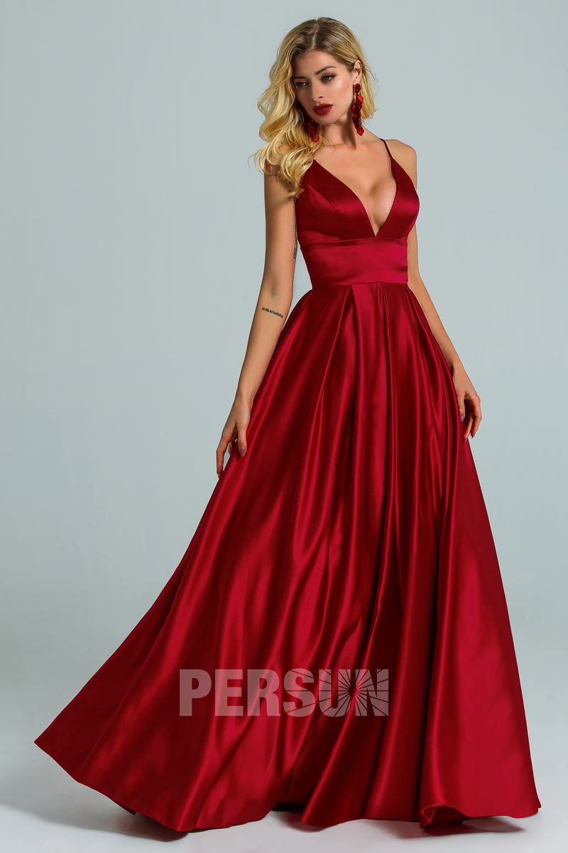 robe de bal bordeaux empire col v avec bretelle fine