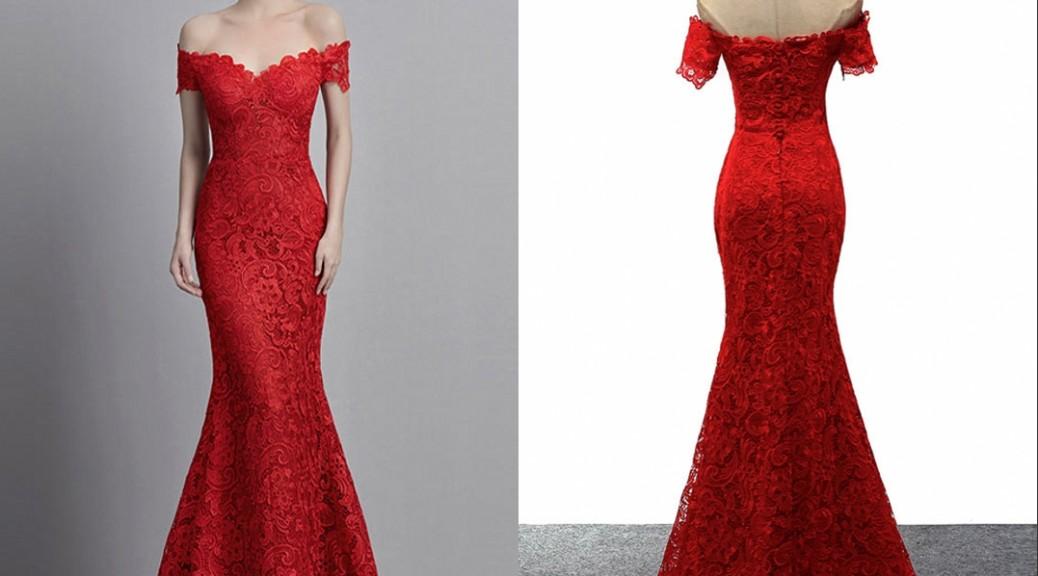 robe-soiree-sirene-epaule-denudee-rouge-en-dentelle-guipure