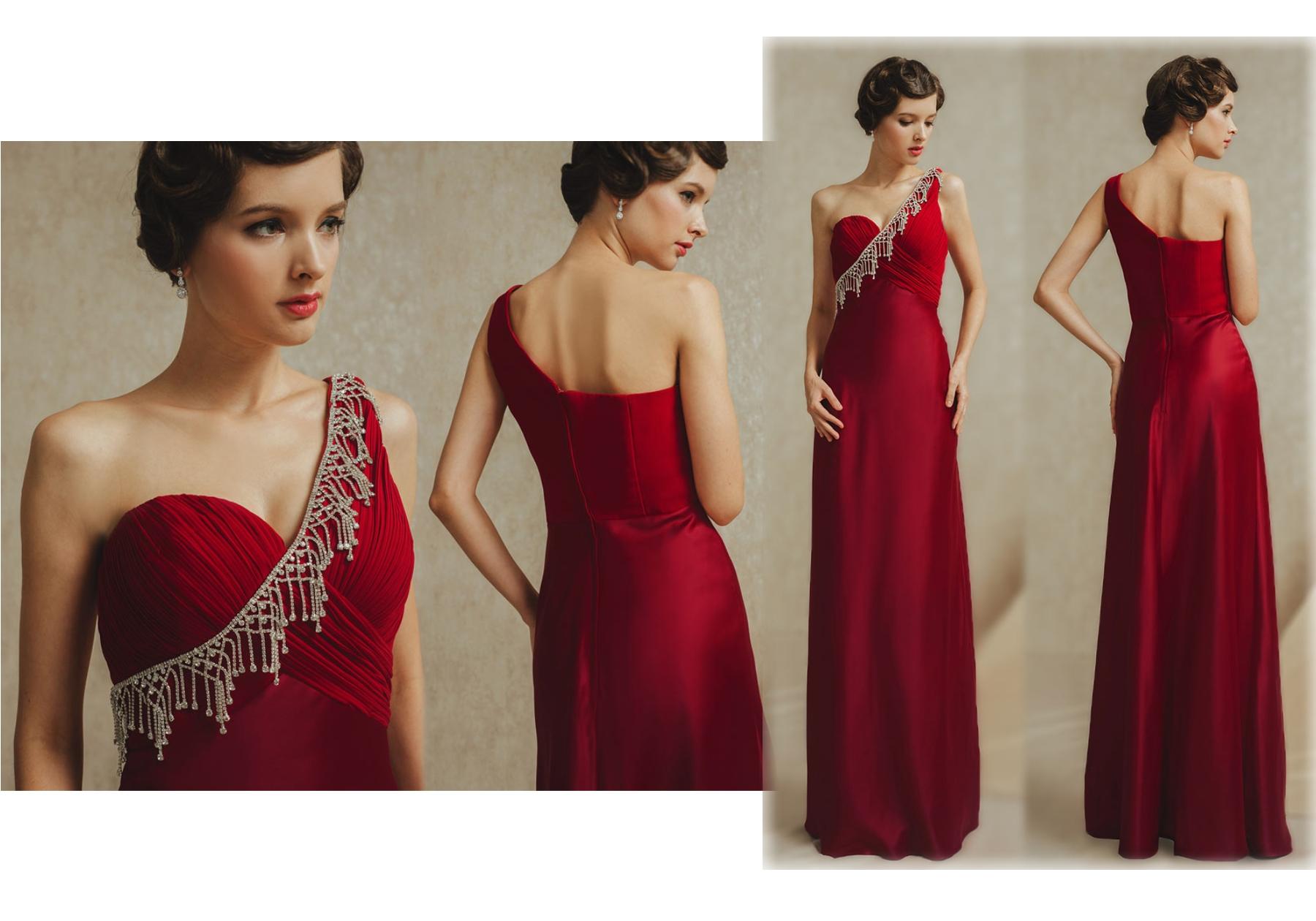 robe de soirée longue asymétrique rouge bustier drapé embelli de bijoux