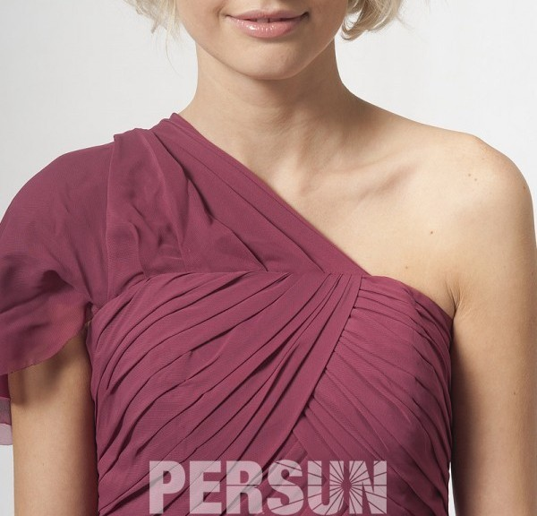robe de cocktail plissé asymétrique manche courte