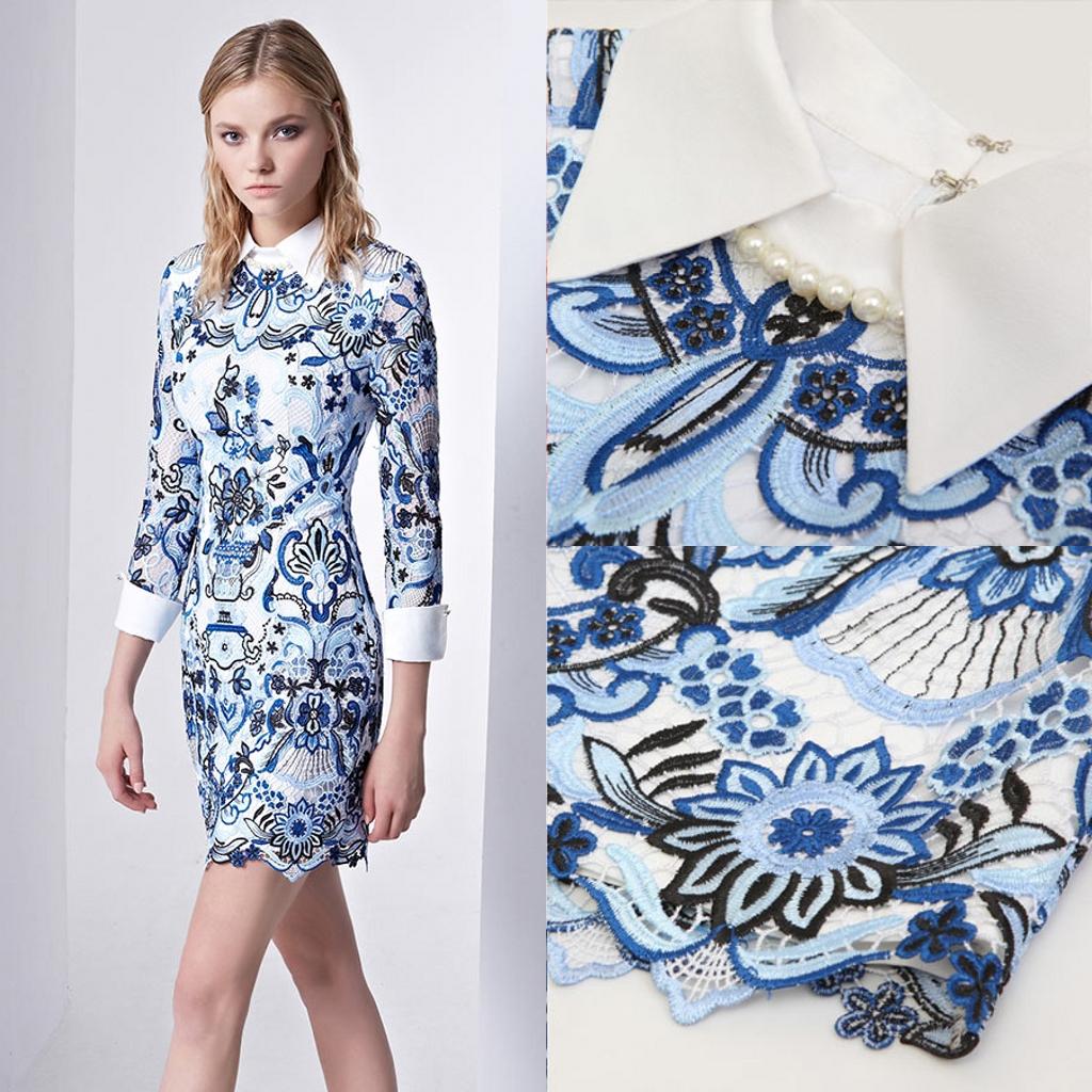 robe de cocktail courte bleu style chemise en dentelle florale à manche mi-longue