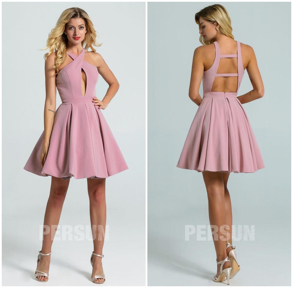 mini robe rose parme bustier découpé à bretelle entrecroisé dos nu jupe évasée