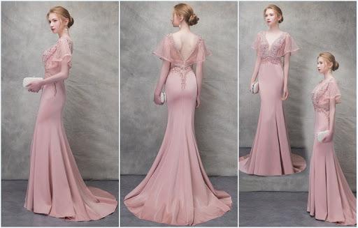 robe de soirée longue sirène rose travaillé de strass dos nu manche évasée
